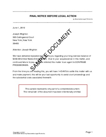 Final Legal Notice (Pakistan) - Legal Templates - Agreements - sample final notice letter
