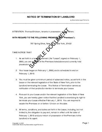 Notice of Termination by Landlord (Pakistan) - Legal Templates - termination notice template