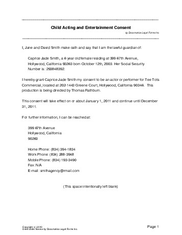 Free Child Acting Consent (Philippines) - Legal Templates - travel consent form sample