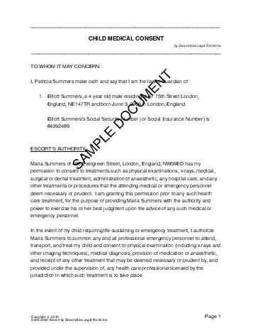 Child Medical Consent (United Kingdom) - Legal Templates