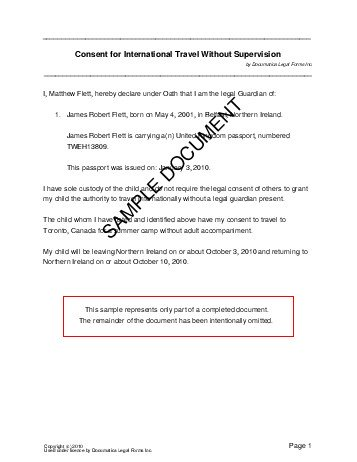 Child Travel Consent (United Kingdom) - Legal Templates - Agreements - child letter
