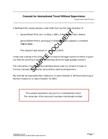 Child Travel Consent (United Kingdom) - Legal Templates - Agreements
