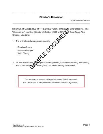 Directors Resolution (United Kingdom) - Legal Templates - corporate resolution form