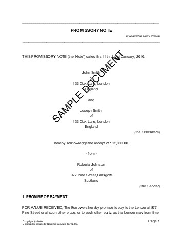 Promissory Note (United Kingdom) - Legal Templates - Agreements