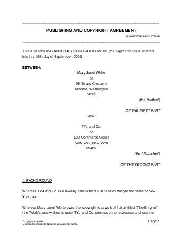 Free Publishing and Copyright Agreement (United Kingdom) - Legal