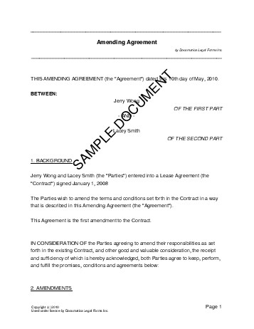 Amending Agreement (USA) - Legal Templates - Agreements, Contracts - contract amendment template