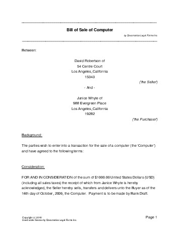 Free Computer Bill of Sale (USA) - Legal Templates - Contracts - bill of sale generic
