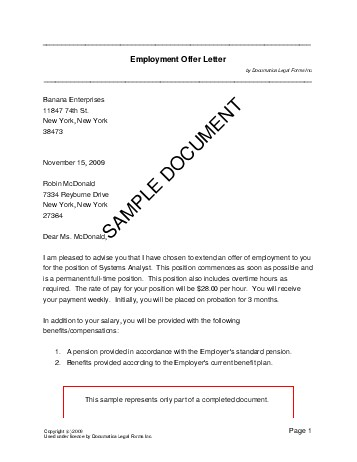 Employment Offer Letter (USA) - Legal Templates - Agreements - sample offer letter