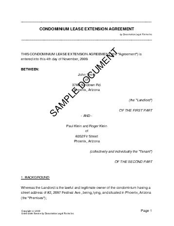 Lease Extension Agreement (USA) - Legal Templates - Agreements - free legal agreement templates