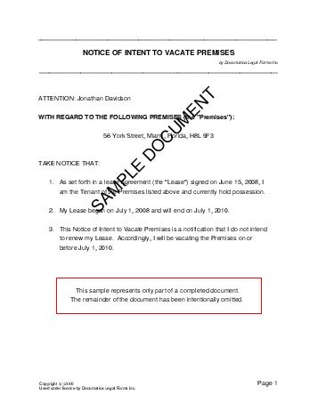 Notice of Intent to Vacate Premises (USA) - Legal Templates - free child travel consent form template