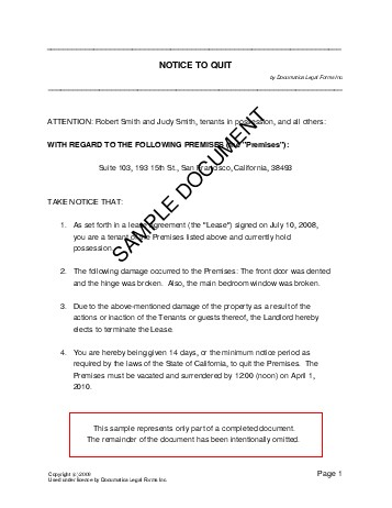 Notice to Quit (USA) - Legal Templates - Agreements, Contracts and Forms