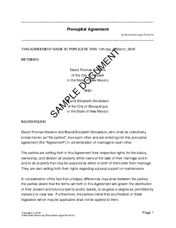 Prenuptial Agreement (USA) - Legal Templates - Agreements, Contracts