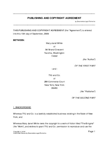 Free Publishing and Copyright Agreement (USA) - Legal Templates - Legal Agreement Contract