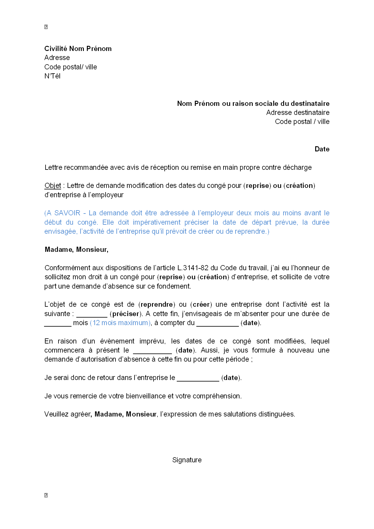 lettre de modification de cv