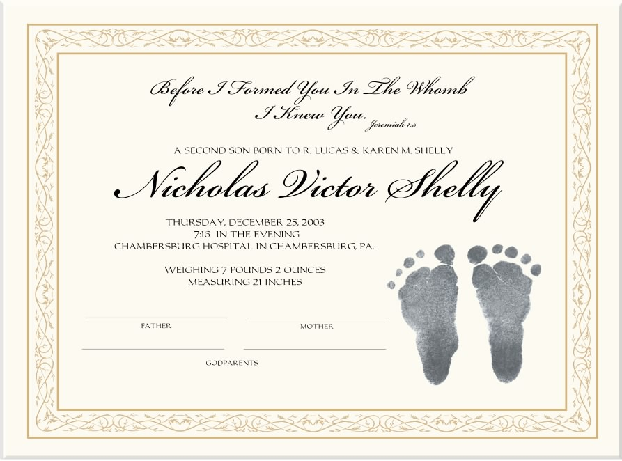 Baptism Certificate Template todaysclix - Certificate Of Birth Template