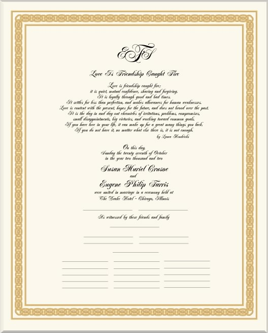 Voucher gift certificate coupon template with floral scrollnobby celtic border designs wedding certificate wedding vows calligraphy scroll border design yadclub Images