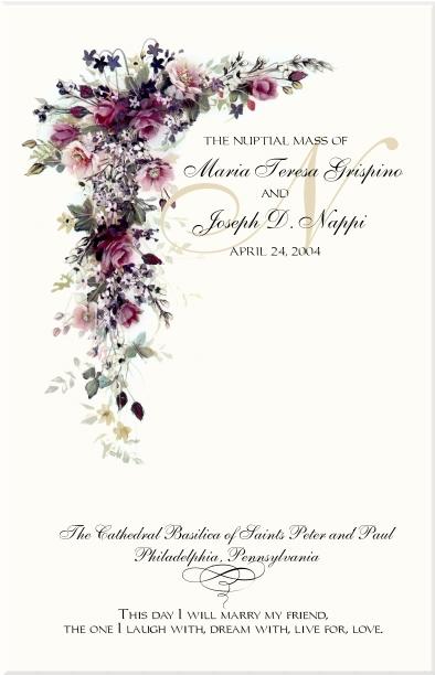 Red Rose Cascade Wedding Program Examples-Catholic Wedding Program