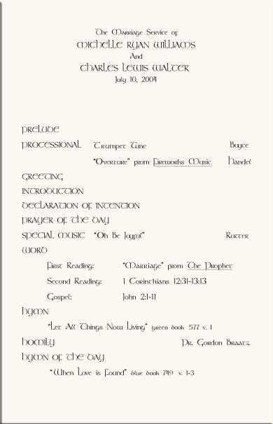Celtic Wedding Program Example-Wedding Directories-Order of - church program