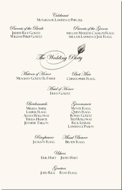 Rose Wedding Program Examples-Wedding Program Wording-Wedding