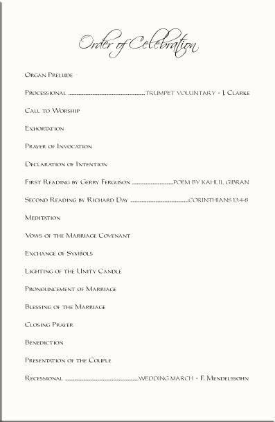 Beach Wedding Programs-Tropical Wedding Directories-Order of Service