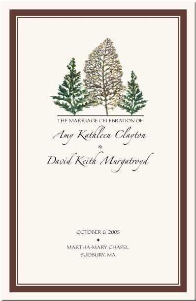 Winter Theme Wedding Program-Snowflake Church Directory-Christmas