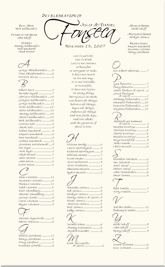 Freehand  Scriptina Monogram Wedding Seating Charts-Wedding