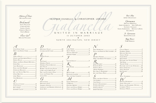 Imperial  Zapfino Monogram Wedding Seating Charts-Wedding Reception - seating charts for weddings