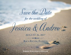 Upscale Beach Footprints Save Dates Beach Footprints Wedding Save Date Announcement Cards Cheap Save Dates Magnets Cheap Save Dates Postcards