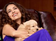 Salma Hayek With Adorable Puppies On The Tonight Show