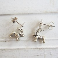 Bulldog Poppy Sterling Silver Earrings, Dog Park Publishing