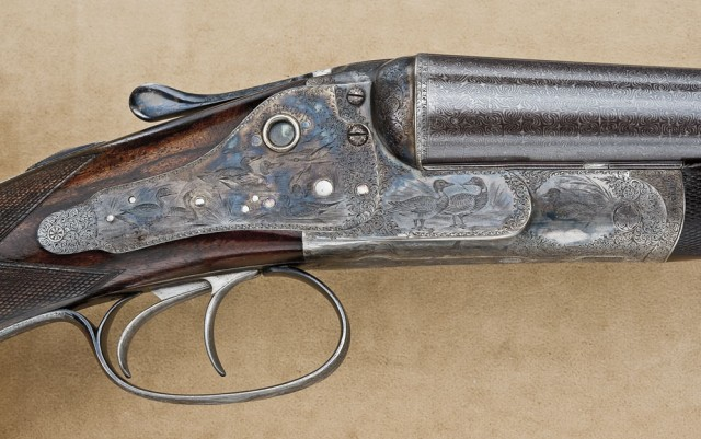 10 gauge W. & C. Scott Premier double barrel shotgun