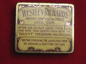 "Original  WESTLEY RICHARDS DETACHABLE-LOCK ""SELVYT"" GUN CLEANING PAD IN NAMED CASE"