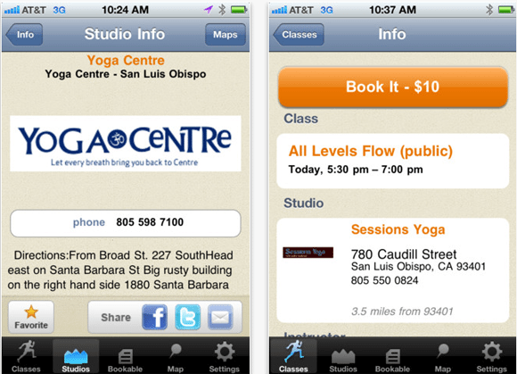 Mindbody Yoga3.0 iphone app