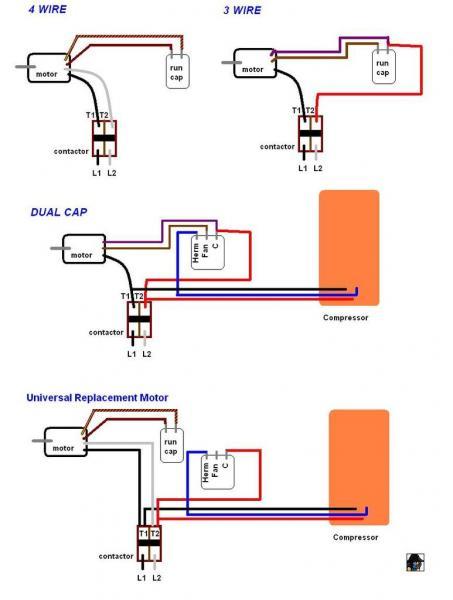 condenser fan motor 3 wire to 4 wire diagram