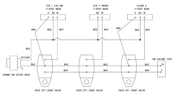 taco 571 2 zone valve wiring diagram