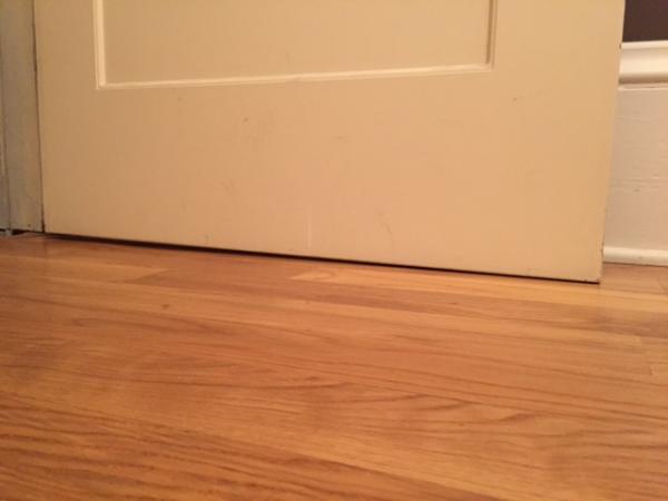 Door Sweep Uneven Floor W Variable Gap Between Opened And
