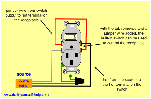 switch receptacle combo wiring