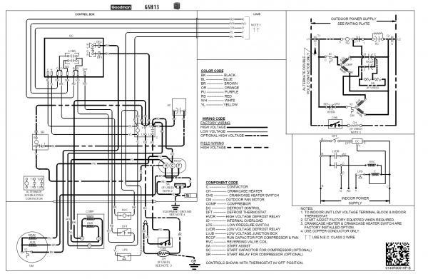 goodman heat pump color code wiring diagrams heat pumps