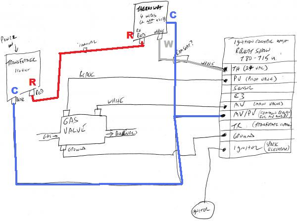 thermostat c wire to robertshaw 780 715 icu