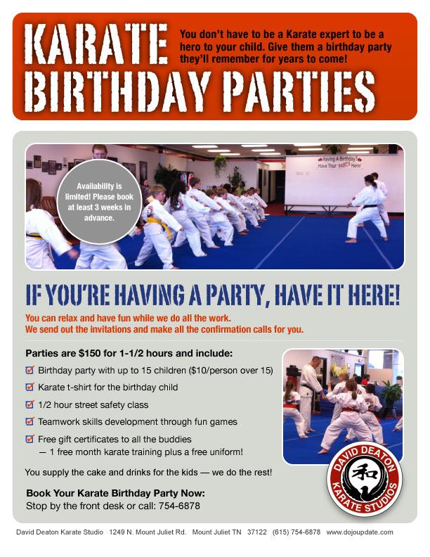 Karate Birthday Parties DojoUpdate