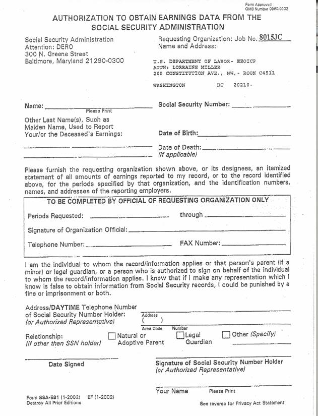 US Department of Labor - Office of Workersu0027 Compensation - blank employment verification form