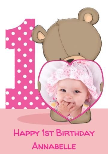 Photo Upload Cartoon Bear with pink heart frame 1st Birthday Card