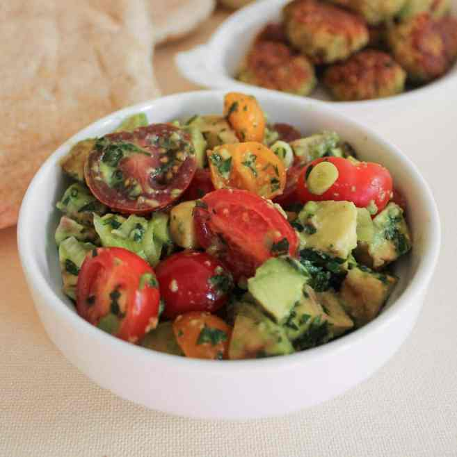 "Quinoa ""Falafel"" with Avocado-Tomato Relish and Yogurt-Tahini Dress..."