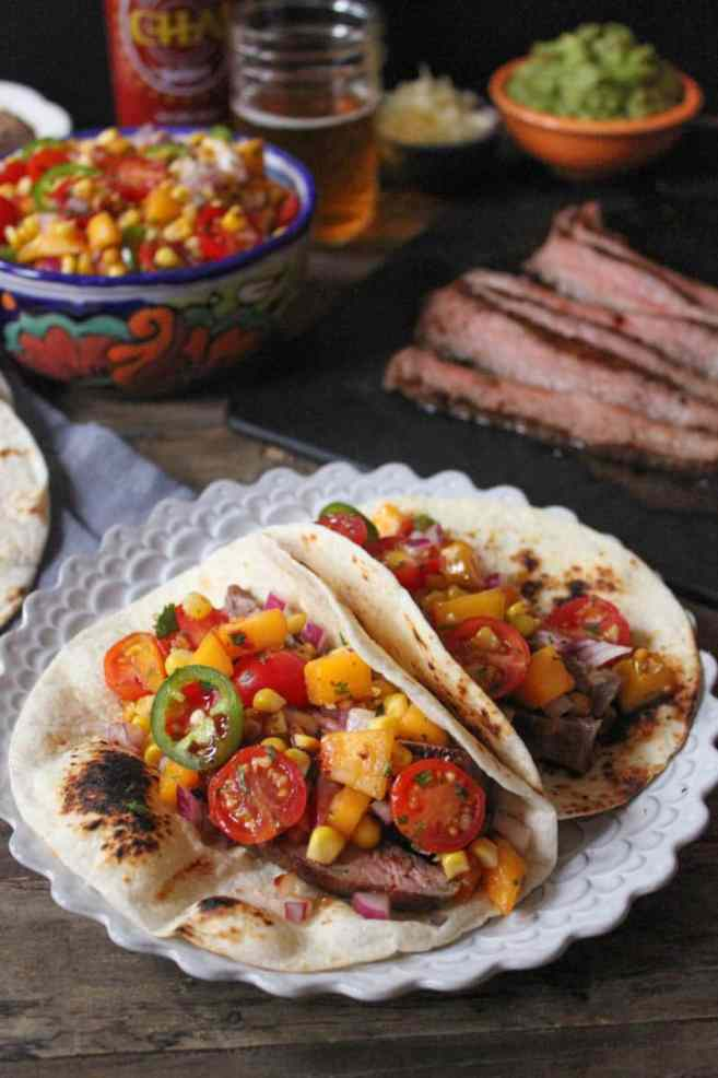 Barbecue-Flank-Steak-Tacos-with-Corn-Peach-Salsa-5