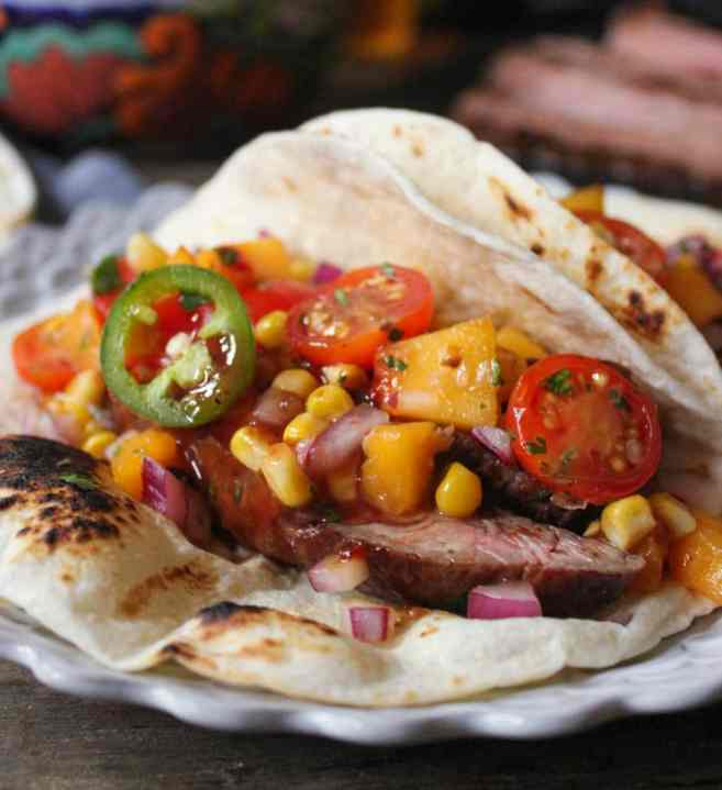 Barbecue-Flank-Steak-Tacos-with-Corn-Peach-Salsa-9