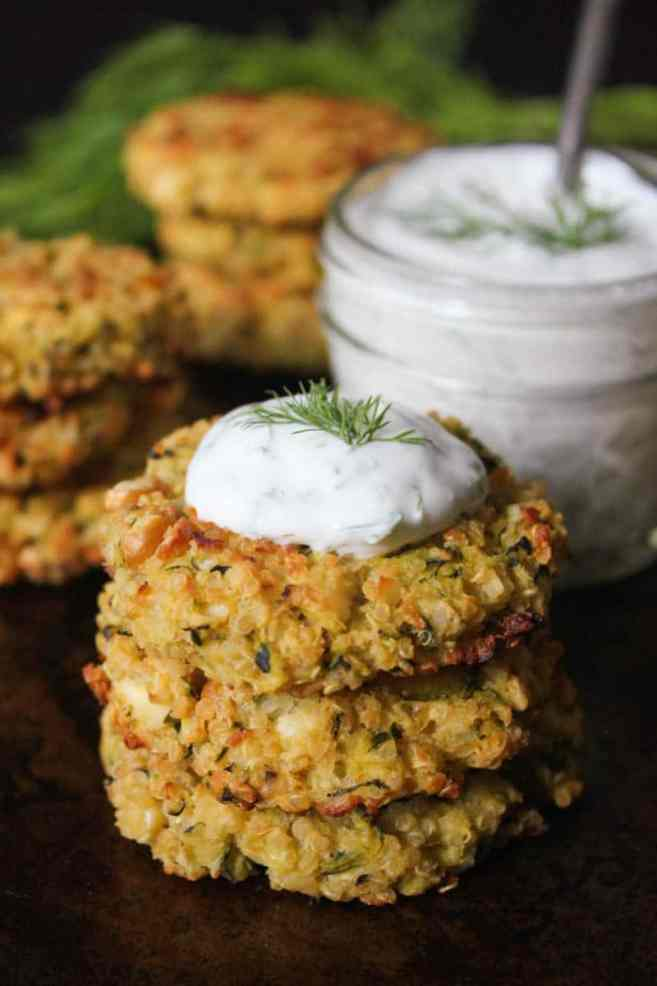 Crispy Baked Zucchini-Quinoa Cakes with Dill Yogurt Sauce ...
