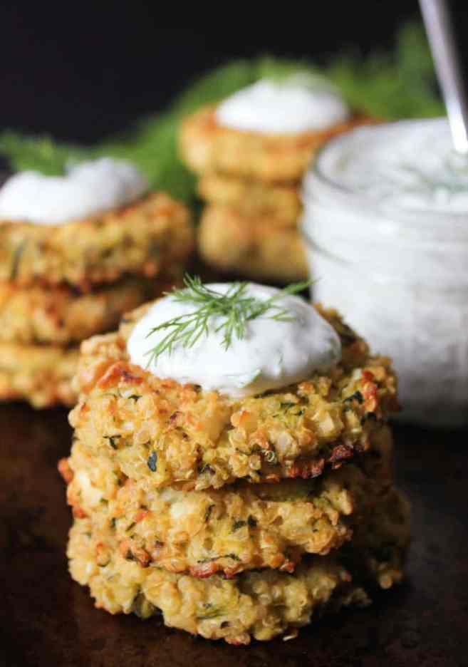 Crispy Baked Zucchini-Quinoa Cakes with Dill Yogurt Sauce- Domesticate ...