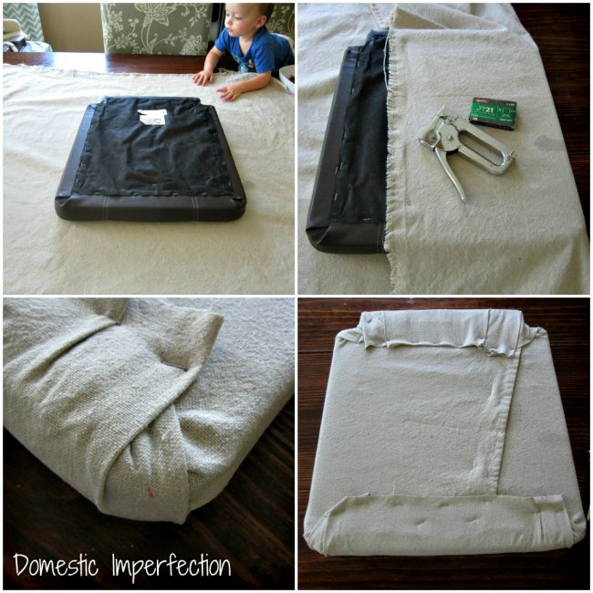 Drop Cloth Barstool Makeover Domestic Imperfection