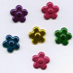 "Metallic -- 3/8"" Flower -- Paper Fasteners -- 50 Pack"