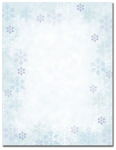 """Blue Flakes -- Holiday Stationery -- 8 1/2"""" x 11"""" -- 80 Sheets"""